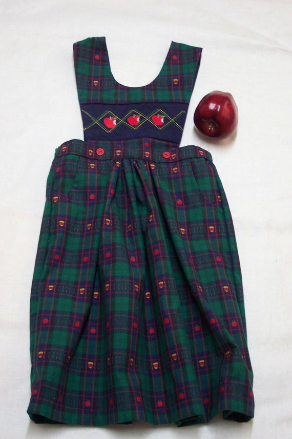 GIRL'S SIZE 4-NEW 2-Piece Skirt with Button-On Monogrammed Removable Tabard-Apple Theme Holiday Plaid Cotton Fabric