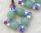 Green Aventurine and Crystal Diamond Earrings