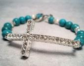 Sideways Cross Turquoise Beaded Bracelet
