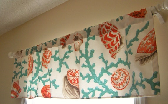 Beach Window Valance Seashell Branch Coral By