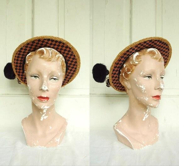 1940s Straw Hat / Vintage Grace Nugent