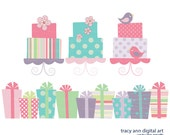 Candy Pastel Cakes and Gift Clip Art