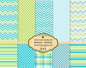 Breezy Digital Paper pack for invites, card making, digital scrapbooking