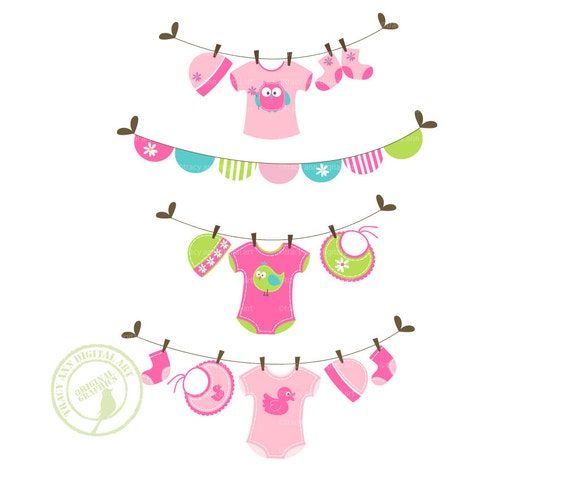 Items similar to Jellybean Baby Laundry Line Clip Art, Baby ...