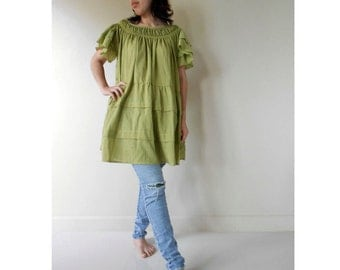 Custom Made Baby doll  lemon green cotton smock around neck baby doll sweet summer blouse S-L (H)