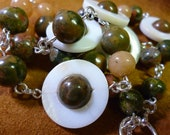 necklace Unakite and Mother of Pearl