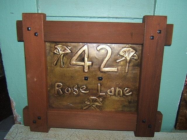 Ginkgo leaves address plaque framed in redwood for Location plaque garage