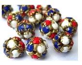 2 Vintage Swarovski crystal ball beads 10mm in brass setting, white, blue, red, RARE