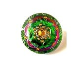 Czech glass button, handmade hand painted flower ornament jewel button 18.5mm