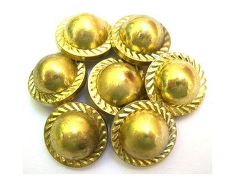 6 Vintage antique buttons gold color plastic 19mm, 10mm height