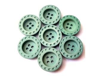 6 Buttons, antique vintage, plastic, unique blue 20mm
