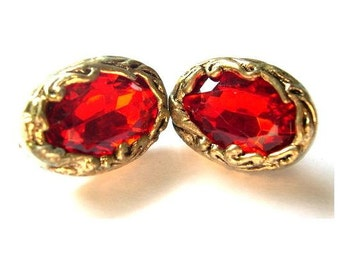 2 Vintage plastic buttons gold color with glitter red rhinestone oval