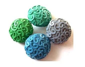 3 Antique vintage buttons etched design 4 colors,  23mm, 10mm thick, RARE