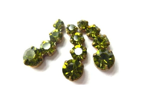2 Swarovski vintage jewelry findings 4 rhinestone crystals in brass setting, unique green