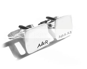 Men Cufflinks, Square Initial Cufflinks, Hand Stamped Cufflinks, personalized cufflinks,  Wedding cuff links, Gift for Men