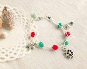 Summer friendship bracelet, coral red, aqua, mint, beach seaside jewelry, navy bracelet, boho jewelry