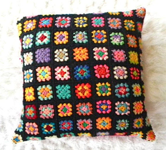 vintage granny square crocheted afghan pillow cover
