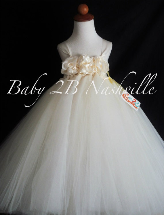 Flower Girl Dress Ivory  Tutu Dress for Weddings Portraits and Birthdays 2-4T