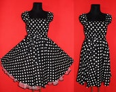 50s Rockabilly Swing Dress Pin Up US Plus Size 22 24 26 Black and White Polka Dots Christmas Halloween Party