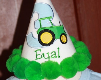 """Personalized Tractor Birthday Party Hat - """"On the Farm"""" - Name - Boy or Girl - Theme - John Deere - Cake Smash - Party Decor"""