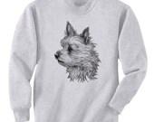 Yorkie In The Wind Yorkshire Terrier Dog Art Men's Sweatshirt Small - 2XL