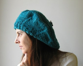 Teal Wool Chunky Knit Beret, Tam O Shanter, Slouchy Womens Chunky Knit Winter Hat, Wool Beret, French Beret, Cute Hat, Gifts for Her, branda