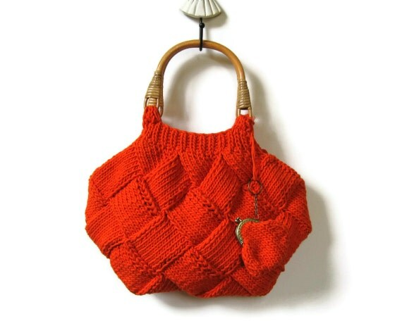 Orange Beach Bag Knit in Cotton with Rattan Handles