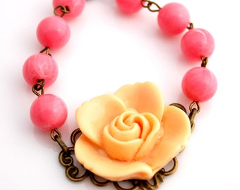 CLEARANCE Orange Cream and Strawberry Rose Bracelet
