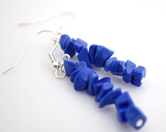 Blue Stone Chip Earrings