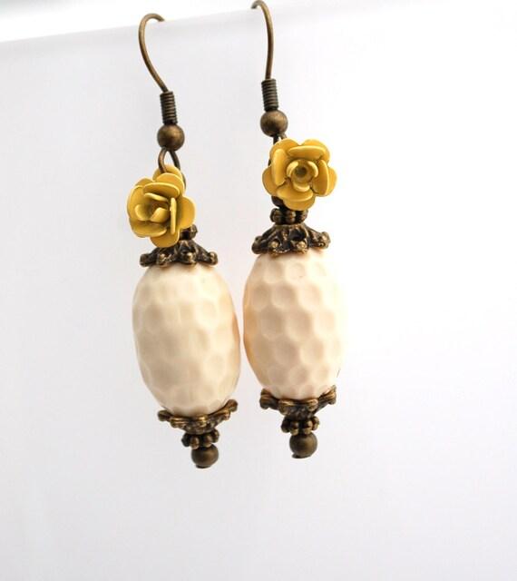 Cream Vintage Bead with Yellow Enamel Flower Earrings Buy 3 Get 1 Free