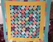 Waiting Waxwings Lap Quilt or Throw, handmade patchwork quilt, sofa quilt, throw quilt with applique bird motifs, bird quilt