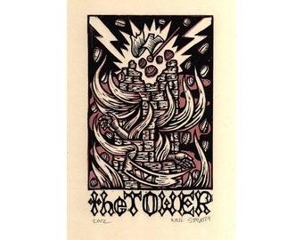 The Tower Linocut Tarot Art Print
