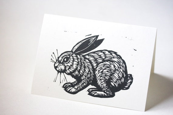 Rabbit Linocut Blank Greeting Card