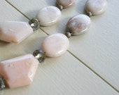 SALE: Laurel Necklace - Pink Opal, Pink Marble, Champagne Glass - Pale Pink, Chunky