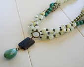 Fleur Necklace - Sea Green Jade, Aquamarine, Turquoise, Olive Glass, Wood, Copper Luster Glass