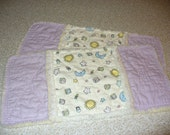 2 Baby Burp Cloths, Rag Quilt, Rag Quilted Burp Cloths, 4 layer Flannel, Lavender, Burp Cloths Girl, Baby Shower gift