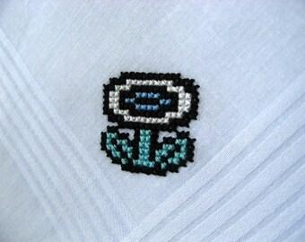 Nintendo cross stitch handkerchief - Fire Flower - Made to Order