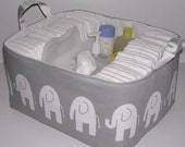 "XL Diaper Caddy Gray White Ele Elephant Fabric Organizer Bin Basket  .. 14"" x 12"" x 8"" .. Holds 50 Diapers"