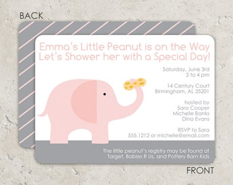 Pink Elephant and Peanut Baby Shower Invitations