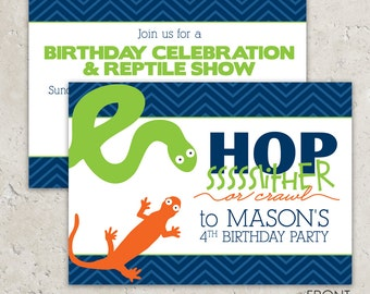 Reptile Party Invitations - snake and lizard