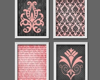 Popular items for pink and gray damask on Etsy