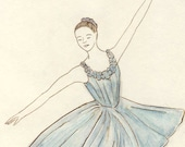 Blue Ballerina original ink  and watercolor drawing by Yardia - dancer, ballet
