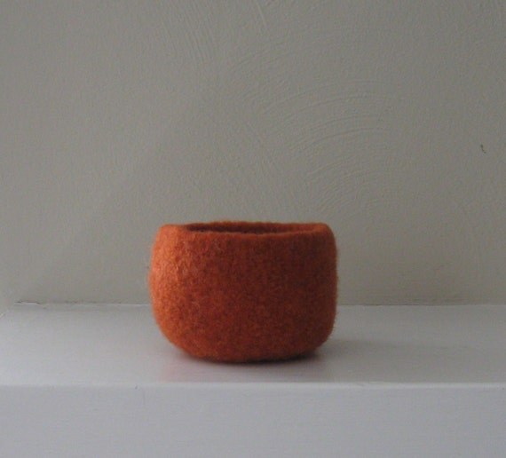 Felted Bowl in Pumpkin Orange - In stock - Ready to Ship