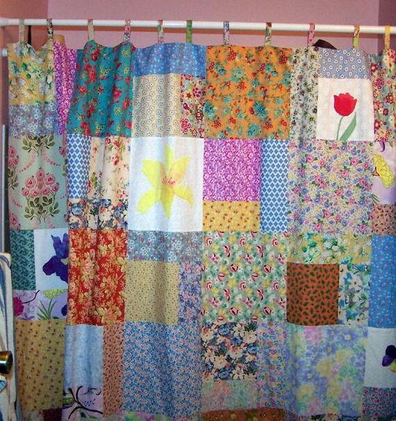 Patchwork cottage garden shower curtain by StarryHomeCrafts
