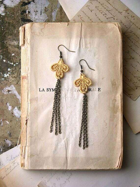 lace earrings - PERSIS - wedding earrings- tassel