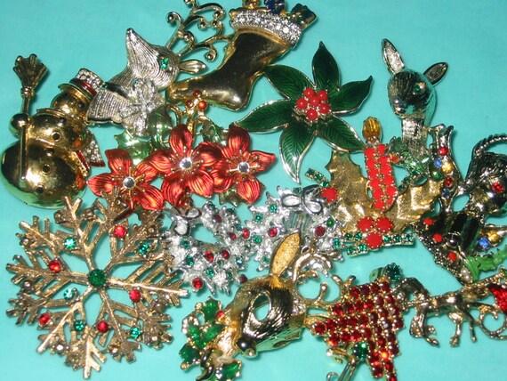 SALE....Vintage Rhinestone Christmas Pin and Earrings LOT of 13 Destash