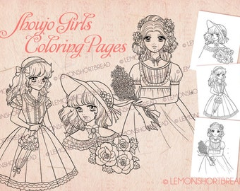 Shoujo Girls Digital Stamps Set of 3, Digi Adult Coloring Pages, Kawaii Lolita Fashion, Anime, Retro Style, Instant Download