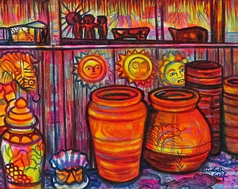 Talavera Tiki III -- 14 x 18 inch Original Painting by Elizabeth Graf on Etsy, Art Painting, Art & Collectibles