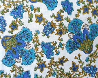 vintage 60s fabric - turquoise olive gold - 45w x 2 yards