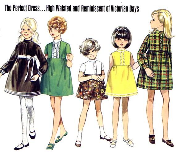1960s Childs Dress Pattern - Butterick 5441 - High Waist - Gathered Skirt - Size 4